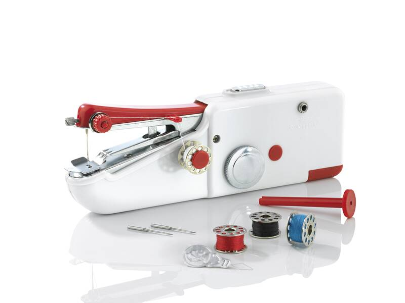 Mini-Hand-Nähmaschine, Weiß/ Rot