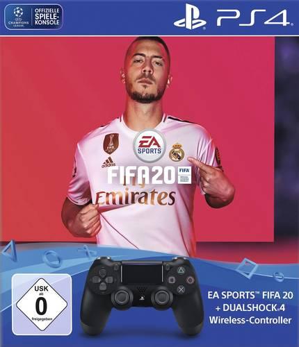 Sony Computer Entertainment PS4 Dualshock 4 Wireless-Controller (Jet Black) + FIFA 20 Controller Pla