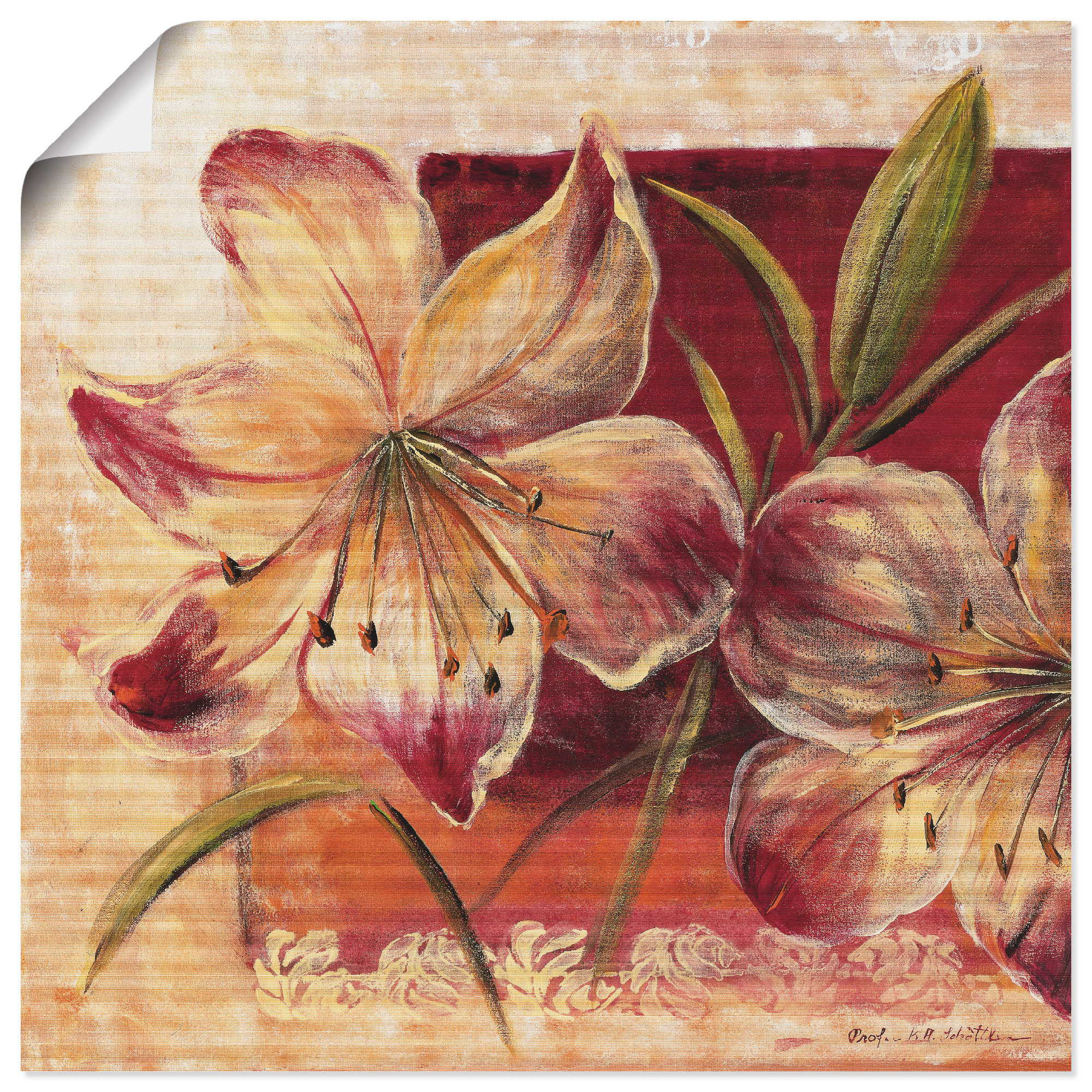 Artland Wandbild Klassische Blumen III, Blumen, (1 St.), in vielen Größen & Produktarten -Leinwandbild, Poster, Wandaufkleber / Wandtattoo auch für Badezimmer geeignet