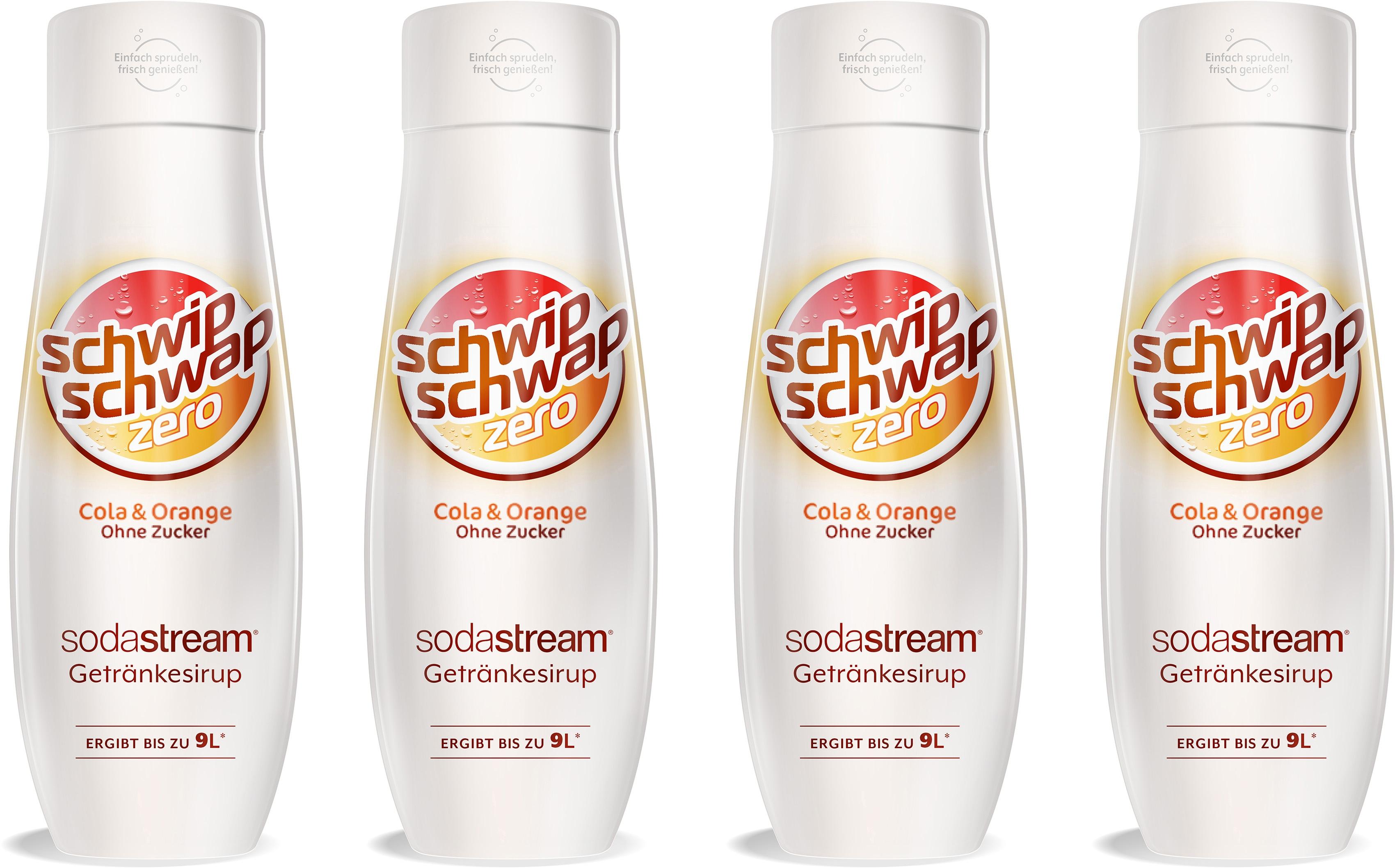 SodaStream Getränke-Sirup, SchwipSchwap (Cola & Orange), ohne Zucker, (4 Flaschen), für bis zu 9 Liter Fertiggetränk