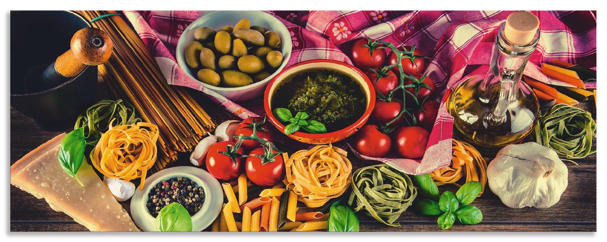 Artland Küchenrückwand Italienisch mediterrane Lebensmittel, selbstklebend in vielen Größen - Spritzschutz Küche hinter Herd u. Spüle als Wandschutz vor Fett, Wasser u. Schmutz - Rückwand, Wandverkleidung aus Alu