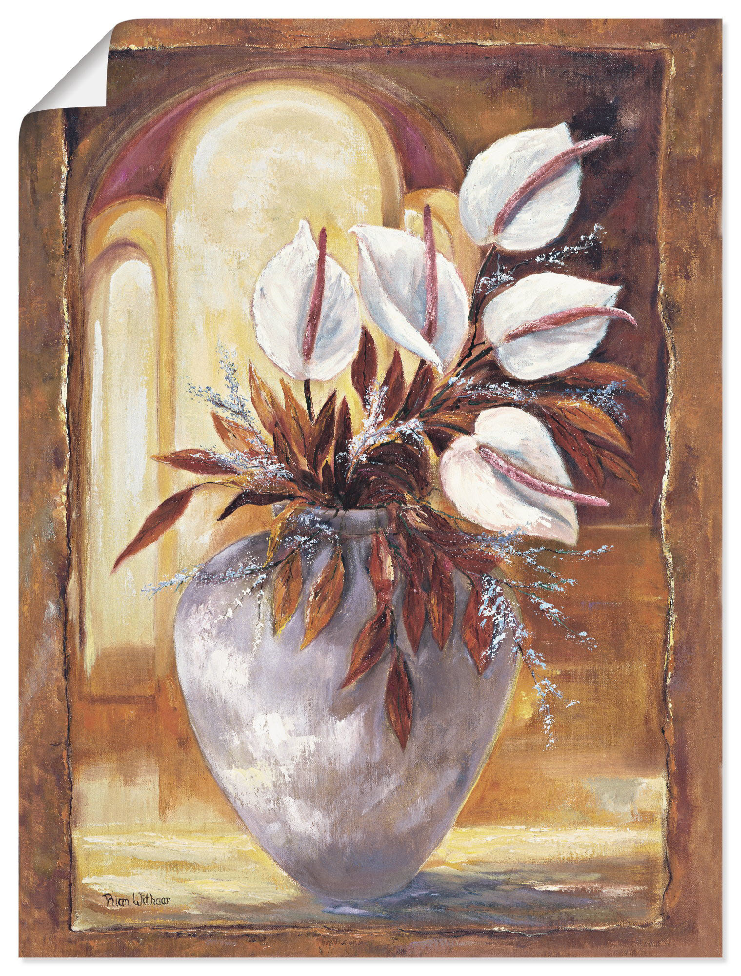 Artland Wandbild Weiße Blumen in Vase I, Blumen, (1 St.), in vielen Größen & Produktarten -Leinwandbild, Poster, Wandaufkleber / Wandtattoo auch für Badezimmer geeignet