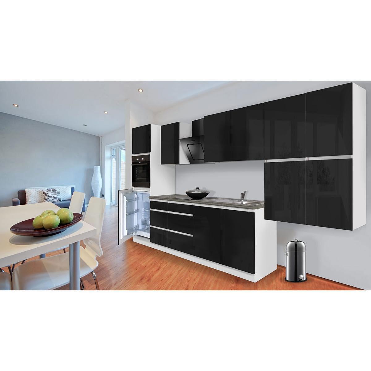 Grifflose Küchenzeile 370 cm Hochbau Schwarz