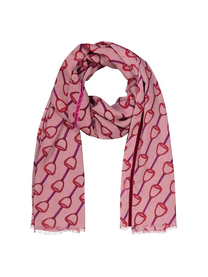 Softer Viskose-Schal mit klassischem Reitsport-Motiv Codello dark rose
