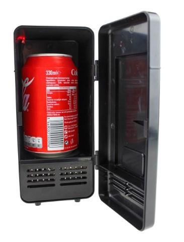 USB Schreibtisch Kühlschrank mit LED Licht - Schwarz