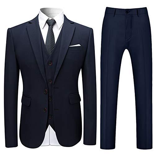 Allthemen Herren Slim Fit 3 Teilig Anzug Modern Sakko für Business Hochzeit Party Hochzeit Marineblau Medium