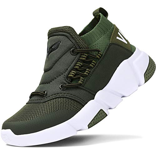 ASHION Kinder Turnschuhe Jungen Sport Schuhe Mädchen Kinderschuhe Sneaker Outdoor Laufschuhe für Unisex-Kinder(E-Grün,32 EU)