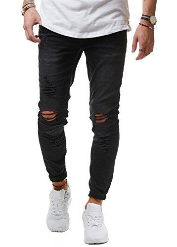 EightyFive Herren Destroyed Jeans Slim Fit Skinny Stretch Denim Schwarz EF1512, Farbe:Schwarz, Hosengröße:W31 L32