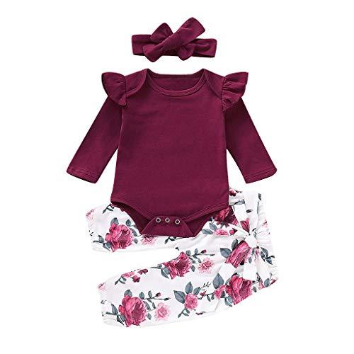 Covermason Babykleidung,Kleinkind Baby Mädchen Strampler Lange Ärmel Tops +Blumen Hosen+Stirnbänder Set Outfits