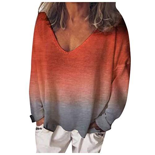 Damen Langarmshirt Rundhals Ausschnitt, ITISME 2019 Herbst Winter Sale Tops Damenmode V-Ausschnitt Lose Beiläufige Langarm Färben T-Shirt Blusen Bar Party Strassenmode Schwarz Günstig