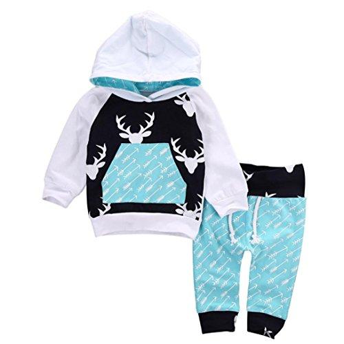 Hirolan Baby Strampler Neugeboren Babykleidung Säugling Baby Junge Mädchen Hirsch Pfeil Kapuzenpullover Lange Hülse Tops Täglich Hose Mode Outfits Kleider Set (90cm, Blau)