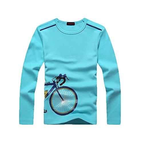 Langarmshirt Jungen T Shirt Langarm Top Kinder Basic Shirt Rein Baumwoll Kinderkleidung für 4-12 Jahre