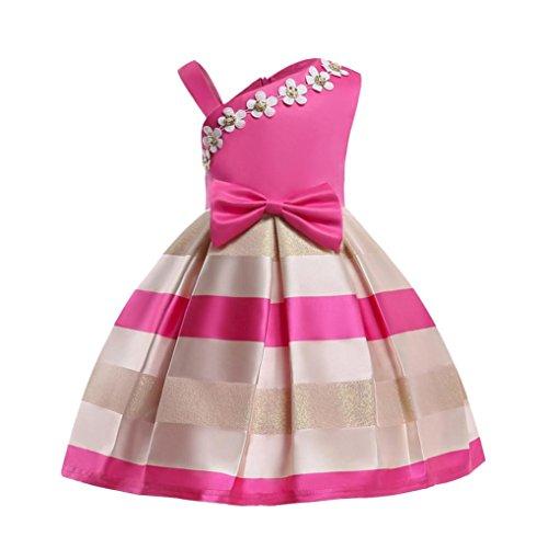 MCYs Sommer Mädchen Baby Schulterfrei Trägerlos Spitzenkleid Partykleid Hochzeits Brautjungfer Festzug Kinder Kleidung Tütu Kleid Bowknot Prinzessin Kleid (150-8Jahre, C)