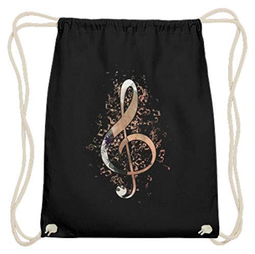 Shirtee Notenschlüssel - Geschenk für Musiker - Musik Noten Violinschlüssel Musikinstrument Dur - Baumwoll Gymsac -37cm-46cm-Schwarz