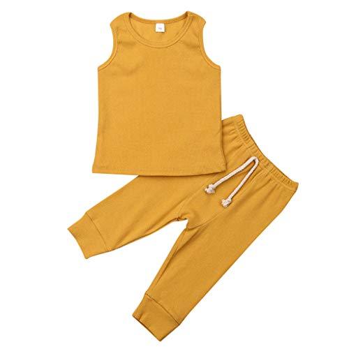 Kinder Ärmellos Weste Hosen, LeeMon Baby Jungen T-Shirt Oberteile + Hosen Babymode Outfits Taufbekleidung Sommerkleidung Sweatanzug