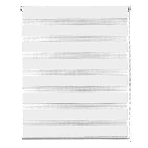 MCTECH® Doppelrollo Duo Rollo Klemmfix ohne Bohren Fenster-Rollo Springrollos mit Klemmträger (60 x 120 cm, Weiß)