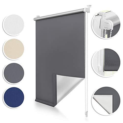 ROOMY Thermo-Rollo Klemmfix, 60 x 150 cm, ohne Bohren, blickdichte Verdunkelung für Fenster und Türen, attraktiver Sicht- und Sonnenschutz in Anthrazit, einfache Montage Dank Click-System