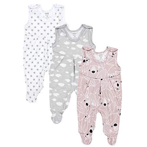TupTam Baby Mädchen Strampler mit Fuß 3er Pack, Farbe: Farbenmix 1, Größe: 56