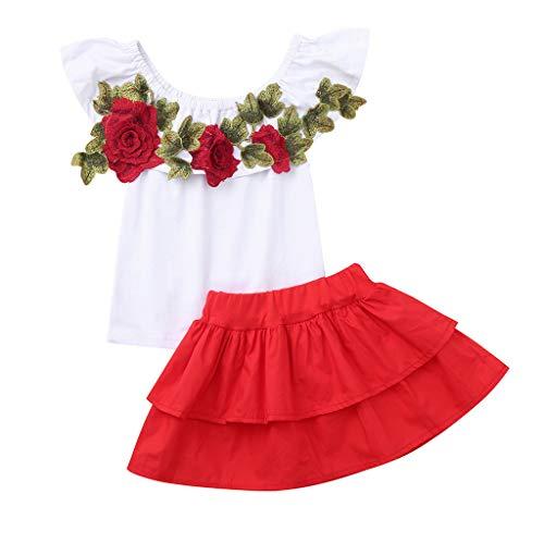 UFODB Baby Set Mädchen, Toddler Kids Mode Off Shoulder Rose Stickerei T-Shirt Tops + Rüschen Prinzessin Partykleider Ballkleider Outfits Kinderkleidung Babykleidung