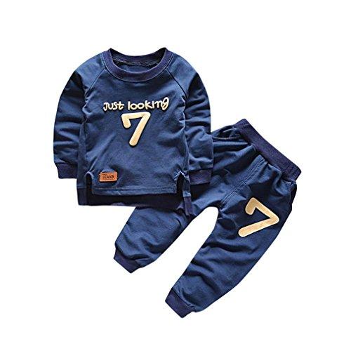 Bekleidung Longra Baby Kinderkleidung Anzüge für Jungen Mädchen Brief Langarm Shirt Oberseiten + Hosen-Ausstattungen Baby 2018 Sweatshirt Babykleidung Set (0-4Jahre) (110CM 3Jahre, Navy)