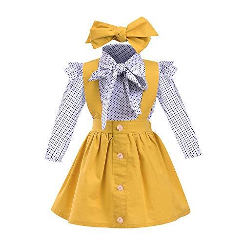 Mädchen Kinderkleidung,Beikoard Kleinkind Infant Baby Mädchen Outfits Set Britischen Stil Welle Punkt Druck Kurzarm-Shirt Jackedrei Stück Anzug (100, Gelb-1)