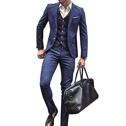 Herren Anzug Slim Fit 3 Teilig mit Weste Sakko Anzughose Business Smoking von Harrms (Blau, XL)