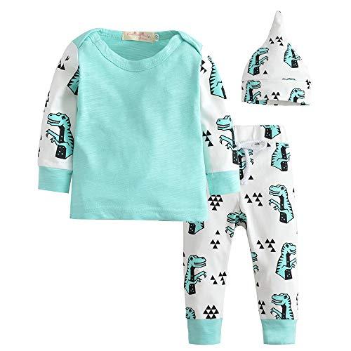 CARETOO Babykleidung Set 3 Pcs Neugeborene Jungen Mädchen Grafik Langarm Strampler Tops+Hosen+Hut Outfits Spielanzug Set Mit 0-24 Monate