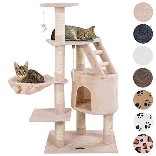 Happypet® Kratzbaum für Katzen mittelgroß 120 cm hoch, Kletterbaum Katzenbaum, CAT017-4 stabile Säulen mit Natur-Sisal ca. 8cm Durchmesser, Liegemulde, Haus, Treppe, Aussichtsplattform, Beige