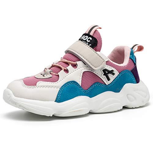 ZXSFC Kinderschuhe Mädchen Sportschuhe Mädchen Sneaker Mädchen Turnschuhe Kinderschuhe Mädchen Laufschuhe Mädchen Hallenschuhe Mädchen Fitnessschuhe Outdoor Schuhe Rosa 27