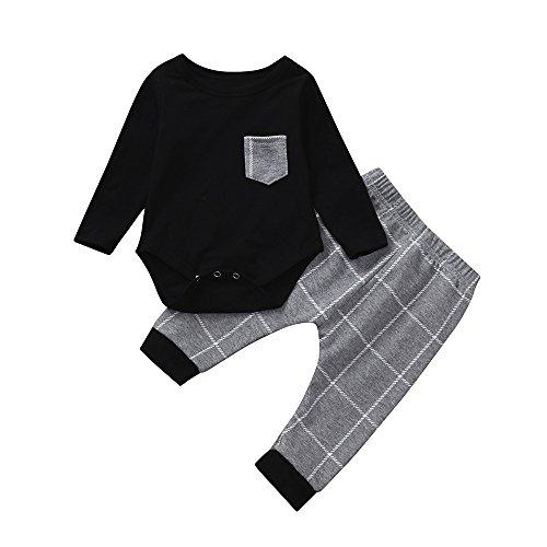 Yanhoo Kinderkleidung, Kindermode Jungen Baby Langarm Kariertes Print Bodysuit Strampler Overall Top Kleidung + Hosen Zweiteiler Babykleidung Outfits