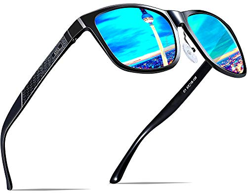 ATTCL Herren Polarisierte Fahren Sonnenbrille Al-Mg Metall Rahme Ultra Leicht 8587-black-blue