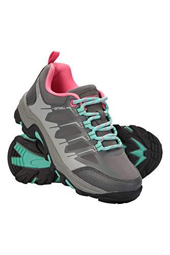 Mountain Warehouse Softshell Schuhe für Kinder - Strapazierfähige Wanderschuhe, atmungsaktive Trekkingschuhe Kinderschuhe mit Netzfutter, Laufschuhe - Für Reisen Grau 36 EU