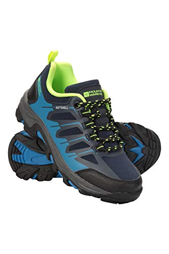 Mountain Warehouse Softshell Schuhe für Kinder - Strapazierfähige Wanderschuhe, atmungsaktive Trekkingschuhe Kinderschuhe mit Netzfutter, Laufschuhe - Für Reisen Blau Kinder-Schuhgröße 37 DE