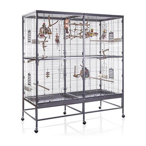Montana Cages ®   Vogelvoliere Paradiso 150   Antik-Platinum   Voliere für Wellensittiche, Nymphensittiche & Co.
