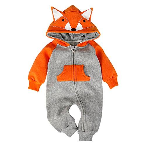 Bebone Baby Junge Mädchen Strampler Baumwolle Babykleidung (6 Monate, Orange)
