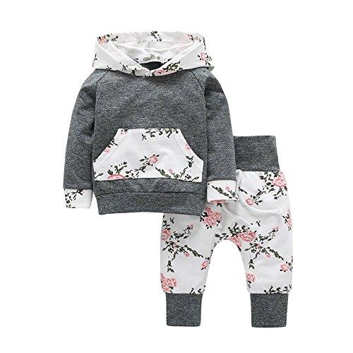 Babykleidung, Sunday Strampler Neugeborene Kleidung Baby Jungen Mädchen Kürbis T-Shirt Teufel Lange Hülse Tops + Hosen Stilvoll O-Ausschnitt Valentinstag Outfits Set (Grau, 0-6 M)