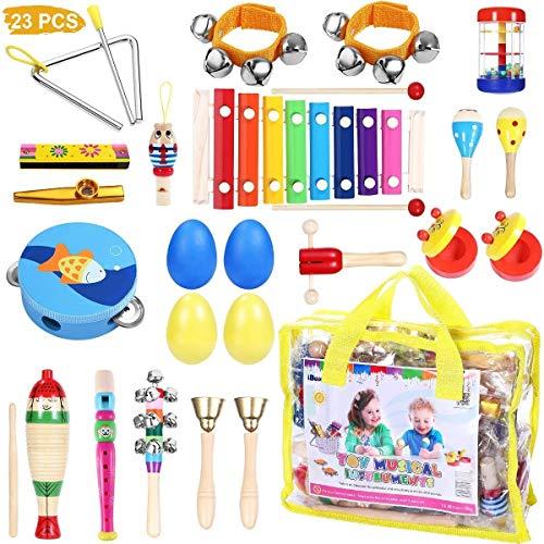 iBaseToy Musikinstrumente Kinder Set, 23 Stück, 16 Verschiedene Typen, Holz Percussion Set für Kleinkinder und Baby, Schlagzeug Schlagwerk Rhythm Toys Musik Kinderspielzeug mit Tragetasche