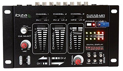 Ibiza 15-2046b 4-Kanal Mischpult mit 7 Eingängen und USB