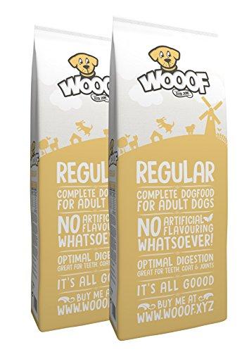 Jetzt neu: Wooof Regular 28kg kaltgepresstes Hundefutter mit Rind, natürliche Zutaten, hoher Fleischanteil, leicht verdaulich, ohne Weizengluten, Trockenfutter