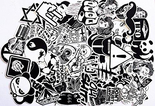 240 Stücke Aufkleber Schwarz-Weiß Graffiti Decals Bumper Stickers für Auto, Skateboard, Reisekoffer, Motorräder, Fahrräder, Boote, Laptop, Skatboard und auf Glatte Oberflächen