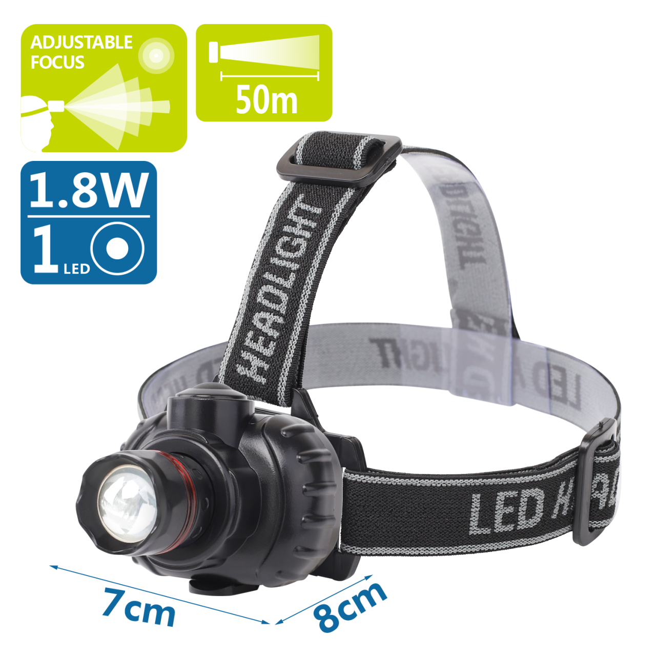 LED Kopflampe Schwarz Leuchtwinkel einstellbar Outdoor Lampe Stirnlampe