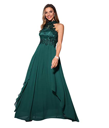 KRISP Damen Abendkleid, Dunkelgrün (4812), 40 EU (Herstellergröße: M, 12), 4812-DKGRN-12