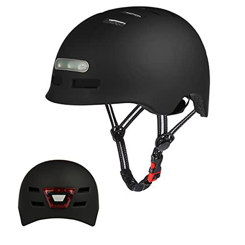 Erwachsene Fahrradhelm mit LED Licht CE-Zertifikate Radhelm Skaterhelm Herren und Damen E-Scooter Roller BMX Helm für Männer & Frauen Trekking City Rennradhelme Jugendhelme Skaterhelm,M