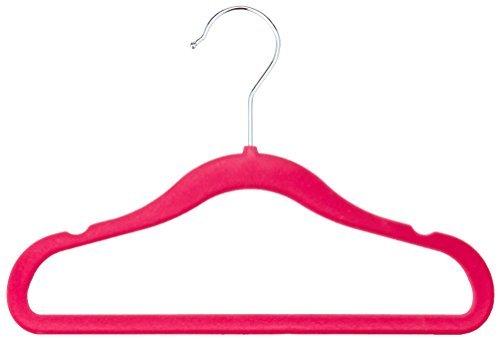 AmazonBasics Kinderkleiderbügel mit Samtbezug, 50er-Pack, Rosa