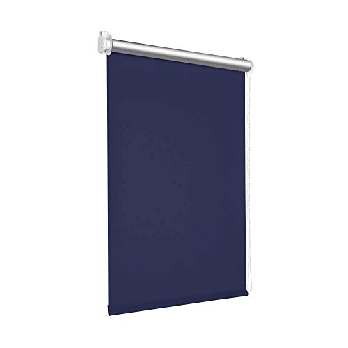 Victoria M. Tenebra Verdunkelungsrollo Thermorollo Rollo ohne Bohren für Fenster und Türen, 125 x 160 cm, dunkelblau