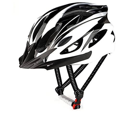 RaMokey Fahrradhelm für Erwachsene Herren Damen, EPS-Körper + PC-Schale, MTB Mountainbike Helm mit Abnehmbarem Visier und Polsterung, Verstellbar Radhelm 58-61cm (Weiß + Schwarz)