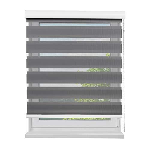 Fensterdecor Doppel-Rollo mit Aluminium-Kassette, Rollo für Fenster mit seitlichem Kettenzug, Seitenzug-Rollo mit Blende in Grau für Innen-Bereich, lichtdurchlässig u. verdunkelnd, 120 x 180 cm