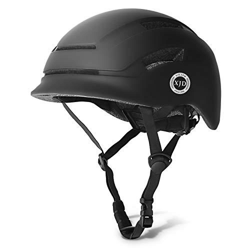 XJD Erwachsene Fahrradhelm Unisex mit LED Rücklicht leichte verstellbare Multisporthelm für Skateboard Scooter Radfahren ect EPS-Innenschale CE- Zertifizierter(schwarz)