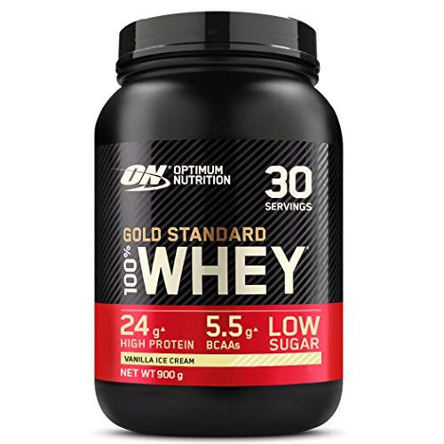 Optimum Nutrition ON Gold Standard Whey Protein Pulver, Eiweißpulver Muskelaufbau mit Glutamin und Aminosäuren, natürlich enthaltene BCAA, Vanilla Ice Cream, 30 Portionen, 900g