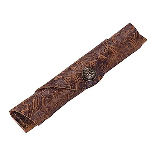 Aibesy Stifteh¨¹lle, Antik-Optik aus Leder, handgefertigt, Schutz f¨¹r einen Stift, Stylus, Kugelschreiber, F¨¹ller, 17,8 x 3 cm Brown Carving